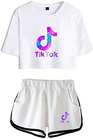 PXFX Girls TIK TOK Fashion Tops+Shorts Sets,Dazzling Yoga Clothes for Exercise,T-Shirt Running Sportswear and Short Sleeve Tracksuit for Summer