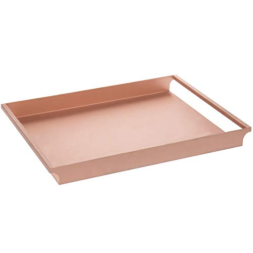 MyGift Rose Gold-Tone Metal Vintage Style Decorative Serving Tray with Sleek Rounded Cutout Handles