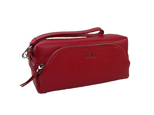 Dkny Red Leather - New DKNY Logo Donna Karen Wristlet Cosmetics Make Up Bag Case Red Nappa Leather