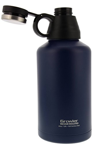 reduce stainless steel vacuum insulated growler 1.0 (Inverted Lid) 64oz, Navy - A Great Companion for Camping, Tailgating, Parties & More