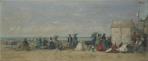 'Eugene Boudin - Beach Scene, Trouville (1),about 1870-4' Oil Painting, 20x48 Inch / 51x122 Cm ,printed On High Quality Polyster Canvas ,this Vivid Art Decorative Canvas Prints Is Perfectly Suitalbe For Nursery Gallery Art And Home Decor And