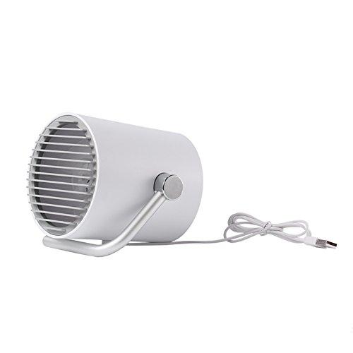 Usb Mini fan handheld,Table fan Personal fan Desk quiet fan Mini fans plug in desk Twin turbo blades Intelligent touch 2 speed Table Small electric fans-for families [office] [outdoor travel]-White
