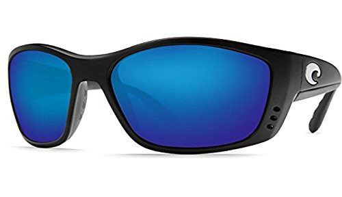 Costa Fisch Sunglasses Black/Blue Mirror Glass 580G & Neoprene Classic ()