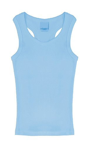 Blu Ribbed Tank Top - Popular Little Girl's Cotton Racerback Ribbed Tank Top - Blue - 6X