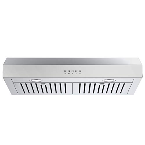 COSTWAY Under-Cabinet Range Hood, 30-Inch 412-CFM, 3-Speed, LED Light Wireless Kitchen Exhaust Fan, Ducted/Ductless Convertible Duct, Contemporary Design, Reusable Filter, Stainless Steel