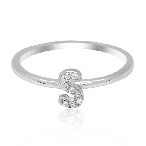 JewelMore Sterling Silver Diamond Accent stackable Initial Ring (petite) (S)