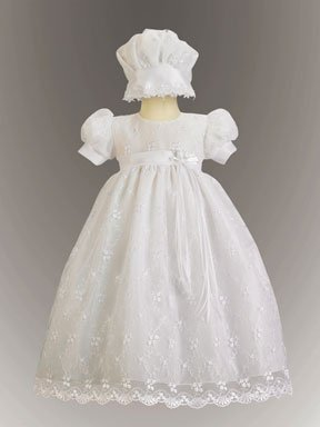 Embroidered Tulle Christening Gown Size 3-6 Months