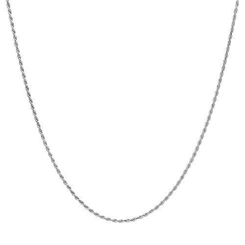 NYC Sterling Unisex 1.4mm Rhodium Plated Solid .925 Sterling Silver Rope Chain Necklace ()