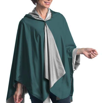 SpiritCaper Rainproof Rain Poncho for Women - Ultrasoft Reversible Rain Cape for Tailgating & Sidelines (Midnight Green & Silver)