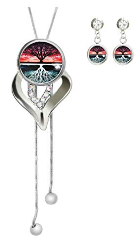 COW GO GO Image Custom Charm Pendant Necklace Silver Chain Heart Crystal Jewelry Earring Studs Set for Women (A New Way of Thinking About The Tree of Life)