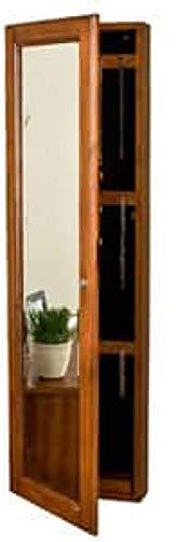 Diamondgift Jewelry Mirror Armoire Mount Oak Full Length Locking Storage Wall Distressed New ()