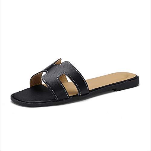 E Spiaggia Da Coperto Donna Pantofole Pantofole Al Black Scarpe Libero Tempo Piatto Sandali All'aperto Jingjing 7qC14xwZp