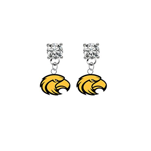 (Southern Mississippi Golden Eagles Clear Crystal Stud Post Dangle Earrings)
