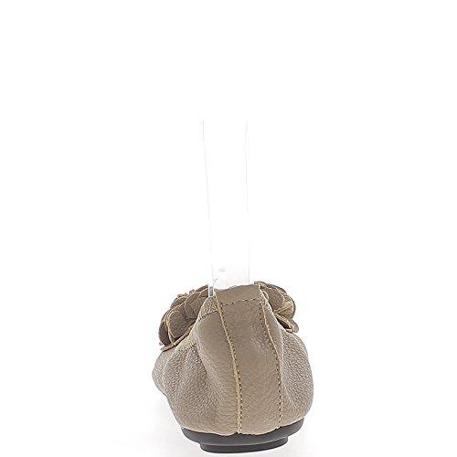 Ballerines taupe aspect cuir brillant avec noeud décoratif pliables