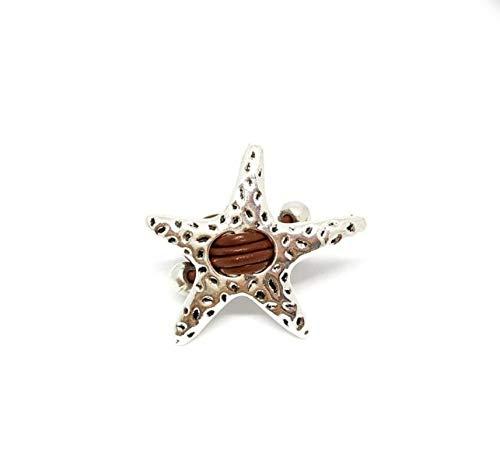 Anillo Ajustable de Cuero Marrón con Estrella de Mar de Zamak, Moderno, Regalos para Ella, Regalo Mujer