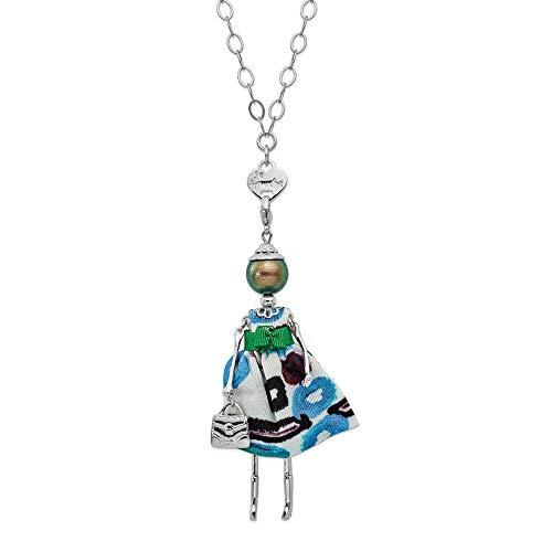 Jewels By Lux Le Amiche Silver-Tone Grn Swar Sim.Pearl Grn/Brown Doll Charm w/Chain