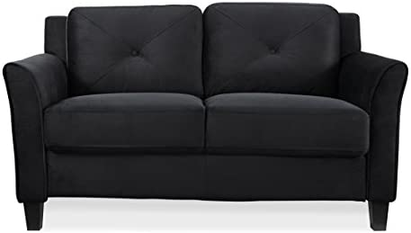 Lifestyle Solutions Collection Grayson Micro-fabric Loveseat 57.87 x32 x32.68 Black