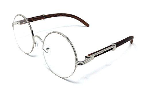 Professor Half Rim Round Metal & Wood Eyeglasses / Clear Lens Sunglasses (Silver & Cherry Wood Frame, - Quavo Sunglasses