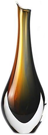 Murano Glass Design Crystal Piemonte Vase Amber Smoke 12 Ht. 4 Length