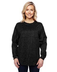 Glitter Fashion Jersey - Ladies Game Day jersey Long sleeve T-Shirt, Black Sparkle Glitter, Small
