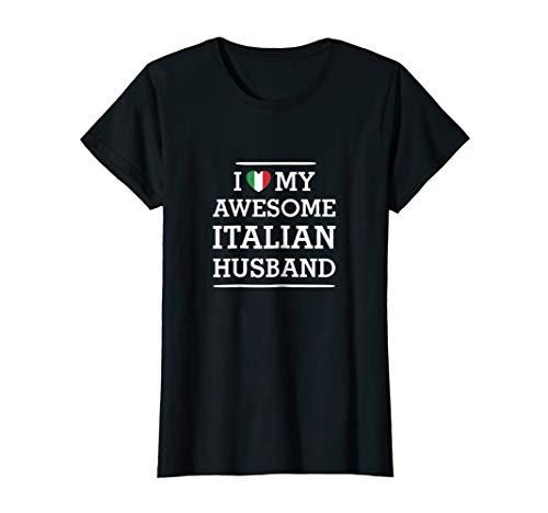 I Love My AWESOME Italian HUSBAND Flag Heart Tee for Wife