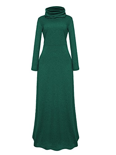onlypuff Elegant Evening Dress Maxi Party Solid Color Cowl Neck Dark Green Small (Cowl Neck Evening Gown)
