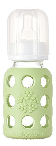 Lifefactory 4-Ounce BPA-Free Glass Baby Bottle with Protective Silicone Sleeve and Stage 1 Nipple, Spring Green