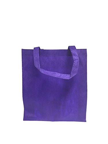 Reusable Convention - Conference Tote Bags Non Woven Bright Colors for Promotions, Giveaway Favors, Purple, Set of 100
