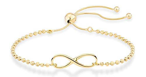 - MiaBella 925 Sterling Silver Diamond-Cut Adjustable Bolo Forever Love Infinity Bead Bolo Bracelet for Women Teen Girls, White or Yellow Made in Italy (Yellow-Gold-Plated-Silver)