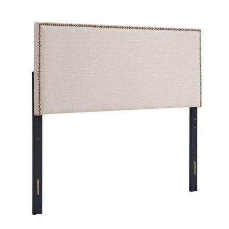 Premium Upholstery Grade Fabric Headboard w Nailheads, (King, Beige)