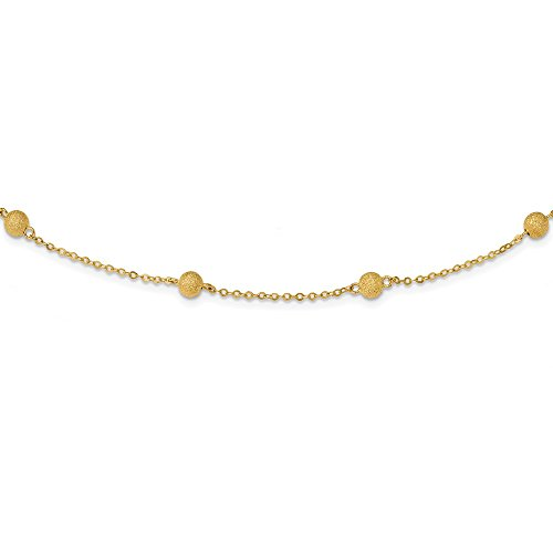 Solid 14k Yellow Gold Textured 7 Stations Ball Necklace Chain 24