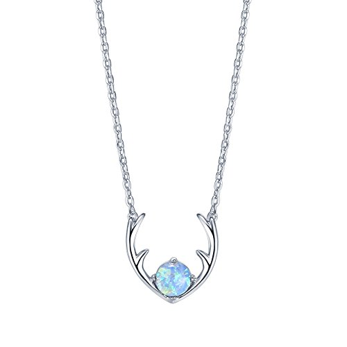 (PAVOI 14K White Gold Plated Native American Jewelry Light Blue OPAL Deer Antler Necklace 16-18)
