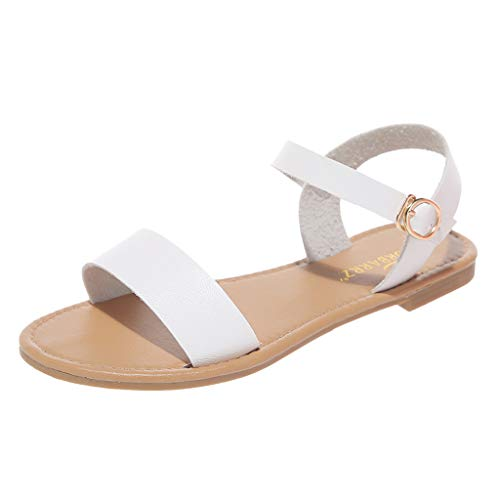 〓LYN Star〓 Women's Soft Faux Leather Open Toe and Ankle Strap Buckle Summer Sandals for Girl T-Strap Buckle Flats Sandals White