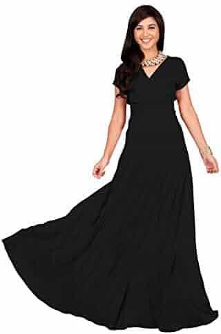 d2e927b3e0 KOH KOH Womens Sexy Cap Short Sleeve V-Neck Flowy Cocktail Gown