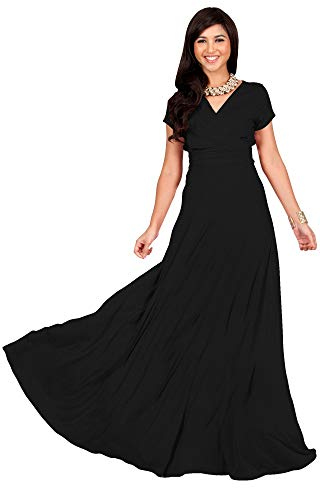 KOH KOH Plus Size Womens Long Cap Short Sleeve V-neck Flowy Cocktail Slimming Summer Sexy Casual Formal Sun Sundress Work Cute Gown Gowns Maxi Dress Dresses, Black XL 14-16