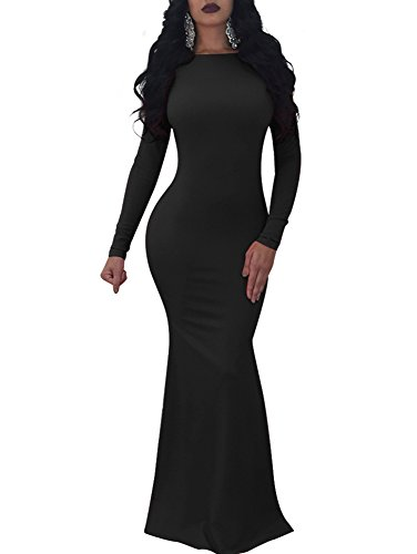 TOB Women s Sexy Long Sleeve Backless Ruched Evening Prom Mermaid Dress 031b1192dfbe
