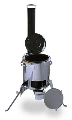 Gulaschkanone, Feldküche, Gulaschkessel aus Edelstahl (auch als Eintopfofen o. Glühweinkessel für ca. 9 Liter)