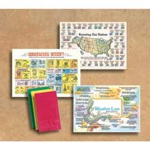 Hoffmaster 901-MP1 Dollarwise Everyday Facts and Fun Printed Placemat - Multipacks, 10 x 14 inch -- 1000 per case. by Hoffmaster