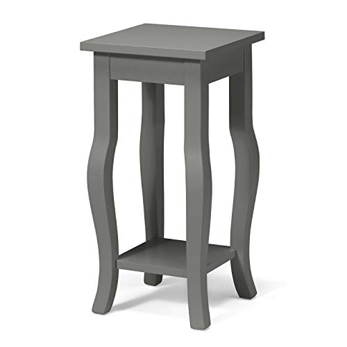 Lillian Wood Pedestal End Table with Curved Legs and Shelf, Gray