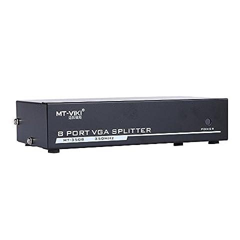 Eazy2hD 350MHZ 1×8 Ports VGA SVGA Video Splitter Box (1 PC Input to 8 Monitors Output) Sharing Switch Selector Hub for Computer DVD TV - Svga Monitor Splitter