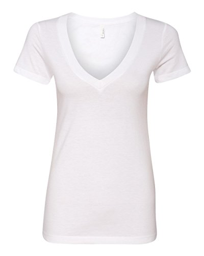 Next Level Apparel Women's CVC Deep V-Neck T-Shirt, White, Large