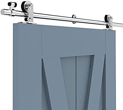 5.5FT/167cm Herraje Puerta Corredera Acero Inoxidable, Herraje para puerta Sistema Carril de acero inoxidable madera puerta corredera Puerta Corredera