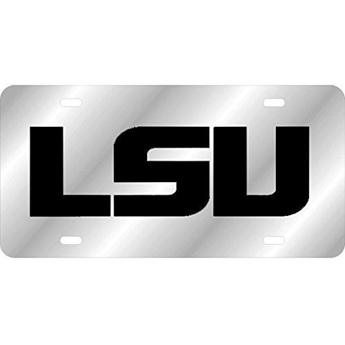 LSU Tigers Mirrored Laser Cut License Plate - Black Logo