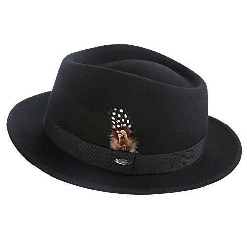 - Deevoov 100% Wool Felt Men's Fedora Outback Trilby Hat Short Brim Cap with Hat Band Feather, Black