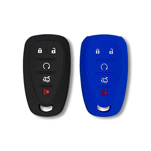 Autobase Silicone Key Fob Cover for 2019 2018 2017 Chevy Malibu Camaro Trax Traverse Sonic Cruze Volt Equinox Spark | Car Accessory for Chevrolet | Key Protection Case 2 Pcs (Black and Blue)