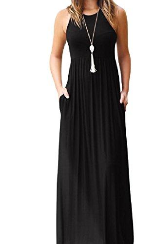 Flared Sleeveless A Tanks Solid Coolred Pocket Swing Line Women Leisure Black Dress B0Eq1Yx