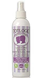 TotLogic Kids Detangler Spray and Leave In Conditioner - Naturally Scented with Essential Oils - Lavender, 8 oz