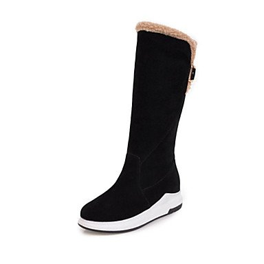 Toe Dress US7 Boots Round 5 Boots 5 EU38 Women's For UK5 Winter CN38 Pink Boots Calf Blushing Mid Snow Heel Fashion Novelty Fleece Wedge Boots RTRY Shoes Casual OwxHaq