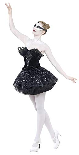 Smiffys Women's Gothic Swan Masquerade Costume, Dress, Carnival of the Damned, Halloween, Size 6-8, 27313 ()