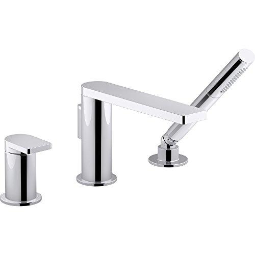 KOHLER K-73078-4-CP Composed Single-handle Deck-mount Bath Faucet with Handshower, Polished Chrome - Handle Deck Mount Bar